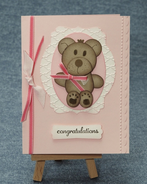Punch Art Bear Baby Card